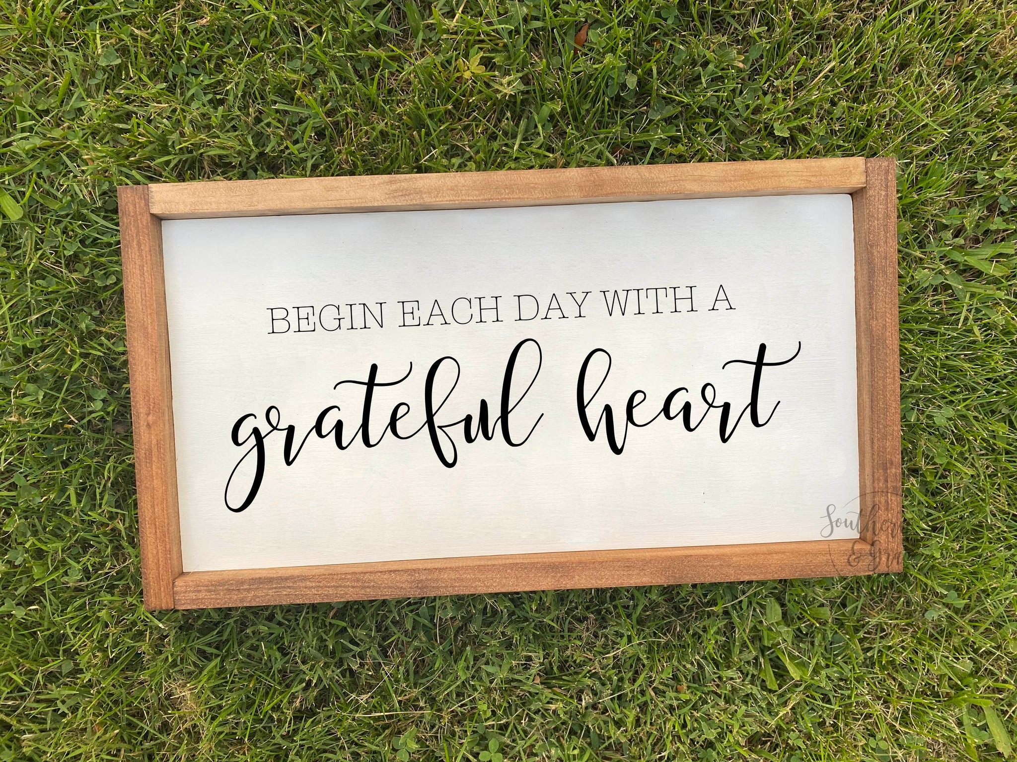 Grateful Heart Framed Wood Sign