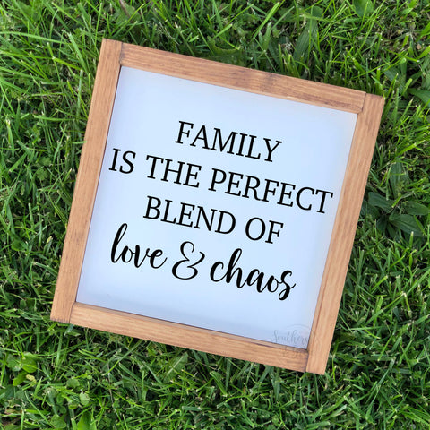 Family is a Perfect Blend Framed Wood Sign