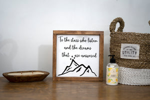 To The Stars Framed Wood Sign