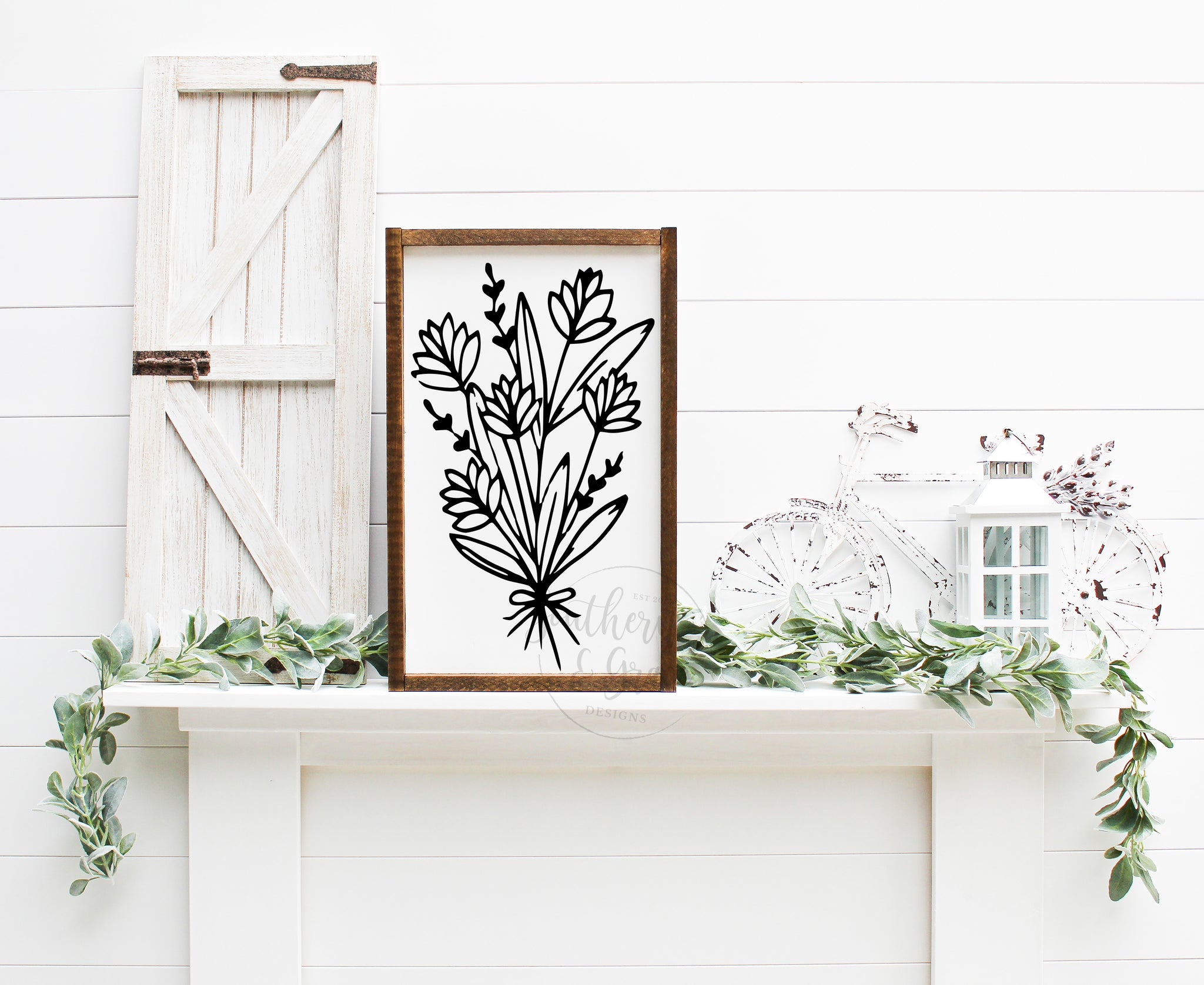 Botanical Framed Wood Sign