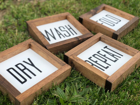 Wash Dry Fold Repeat Framed Wood Sign Set
