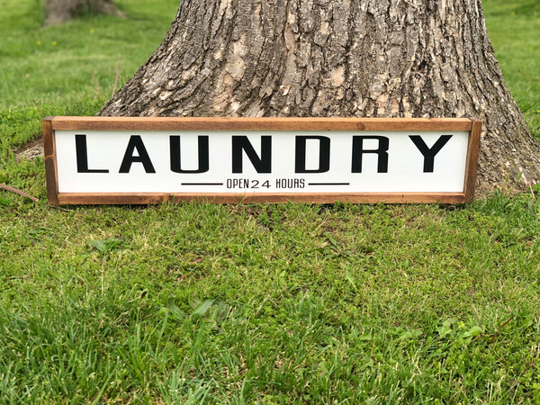 Laundry Open 24 Hours Framed Wood Sign