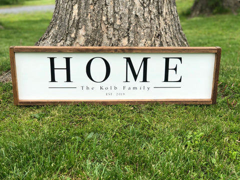 Custom Home Framed Wood Sign