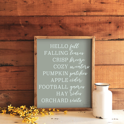 Fall Lineup Framed Wood Sign