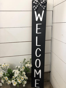 Welcome Plaid Bow Porch Sign