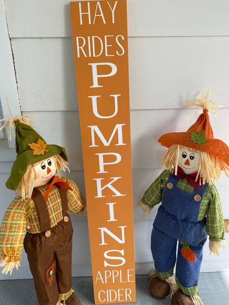 Hayrides Pumpkins Apple Cider Porch Sign
