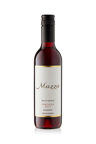 Image shows a 375 ml bottle of Mazza Fortified Bastardo vintage-port-style dessert wine