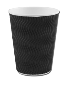 12oz Black 'S' Ripple Cups
