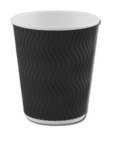8oz Black 'S' Ripple Cups