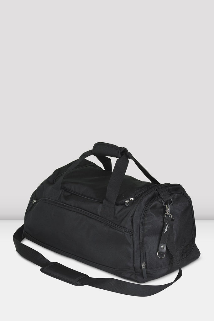 Black nylon Bloch Ballet Duffel Bag with multiple zipped compartments and adjustable straps