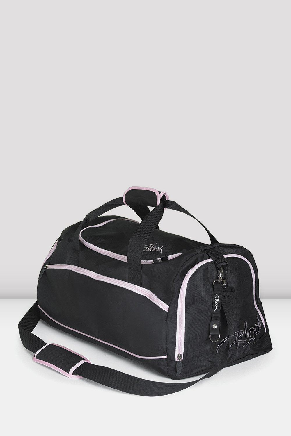 Black pink nylon Bloch Ballet Duffel Bag with multiple zipped compartments and adjustable straps