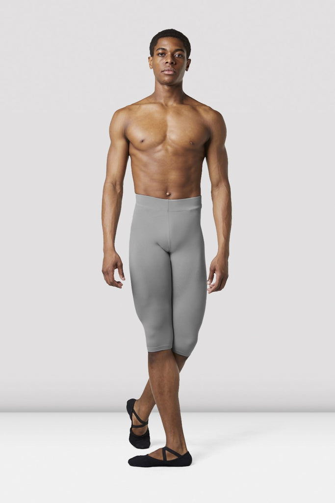 Grey Bloch Mens Knee Length Rehearsal Tights on male model in classical position