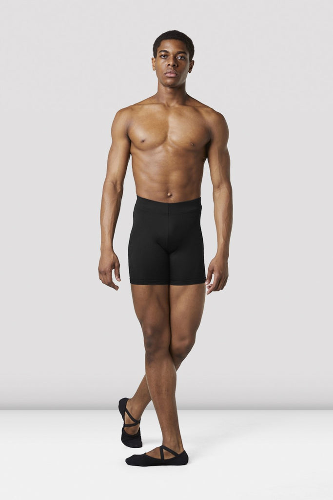 Black Bloch Mens Mid Length Rehearsal Tights on male model in classical position
