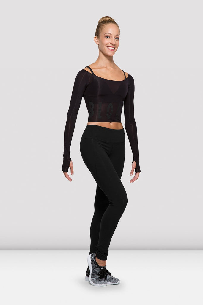 Ladies Bloch Logo Long Sleeve Crop Top - BLOCH US