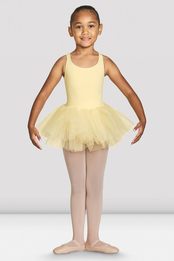 Sunshine Bloch Girls Clara Strap Tank Tutu Leotard on female model feet in first with arms in demi bra