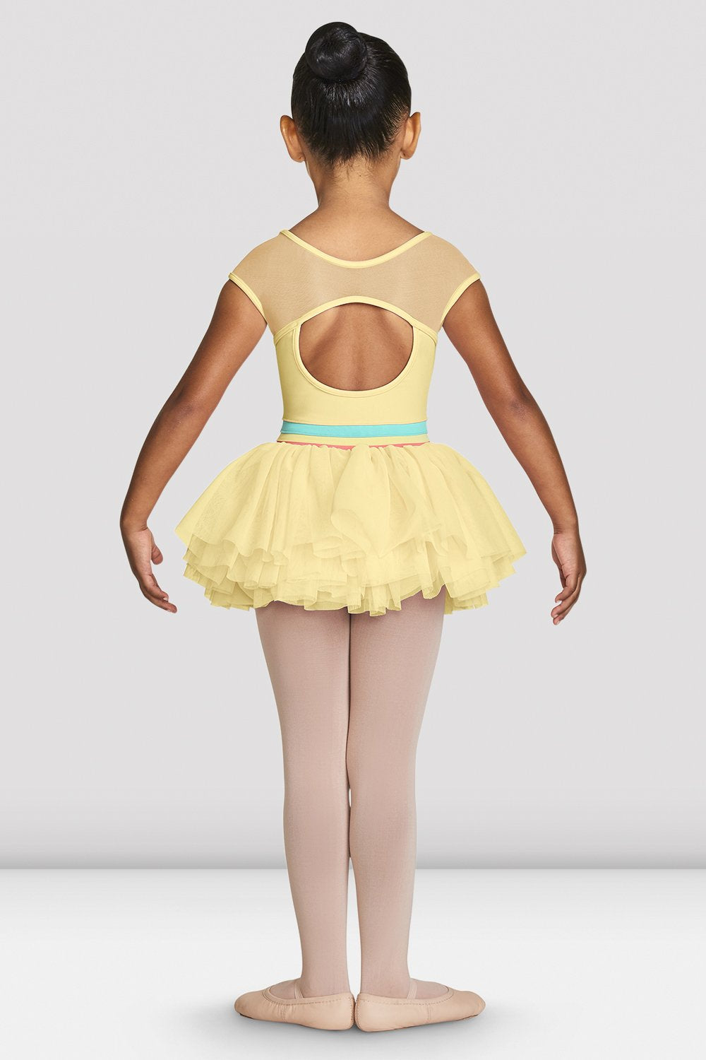 Sunshine Bloch Girls Mabel Cap Sleeve Tutu Leotard with mesh cut out back on female model feet in first position with arms in demi bras facing back