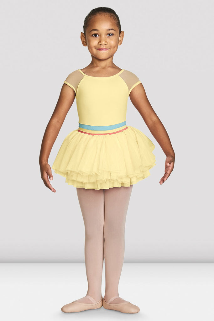 Sunshine Bloch Girls Mabel Cap Sleeve Tutu Leotard on female model feet in first position with arms in demi bras