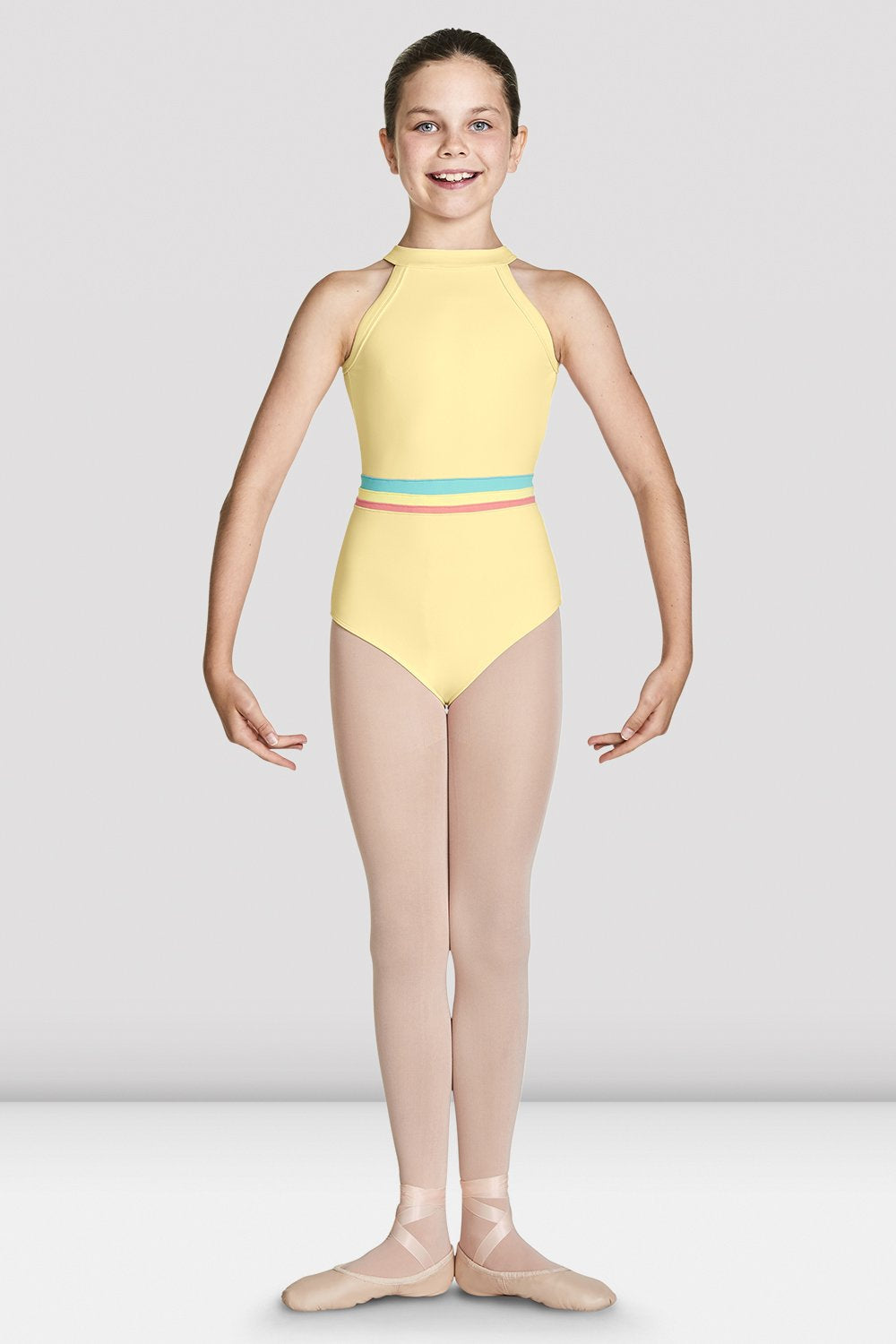 Sunshine Bloch Girls Aisha High Neckline Halter Leotard on female model in first position with arms in bra bas