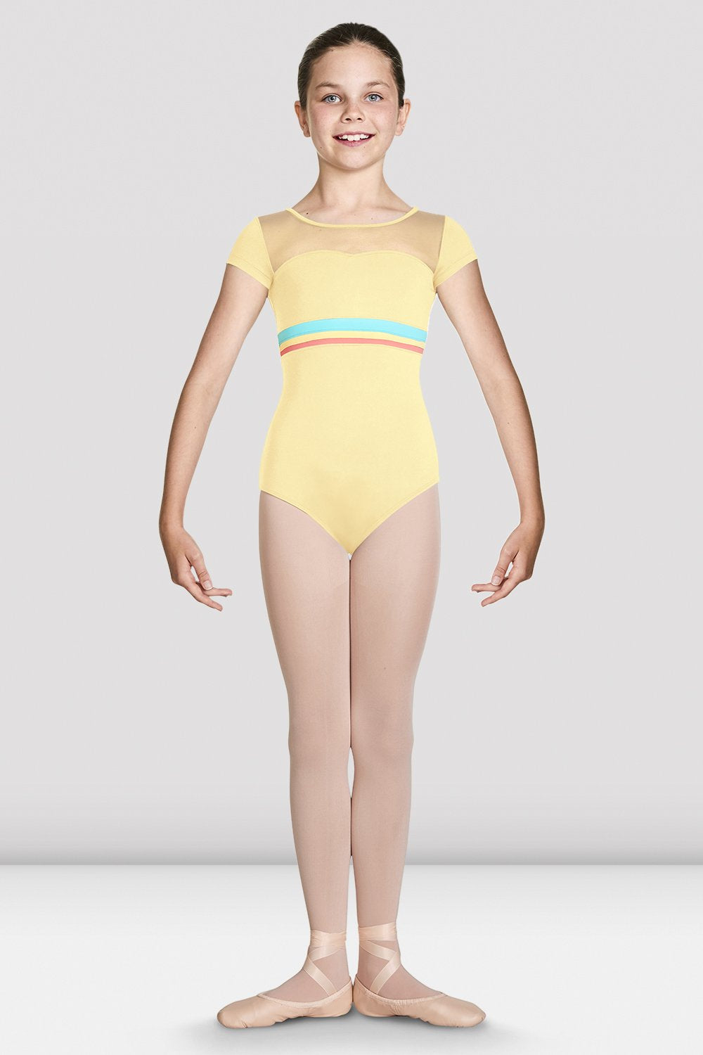 Sunshine Bloch Girls Isa Sweetheart Cap Sleeve Leotard on female model feet in first with arms in demi bra