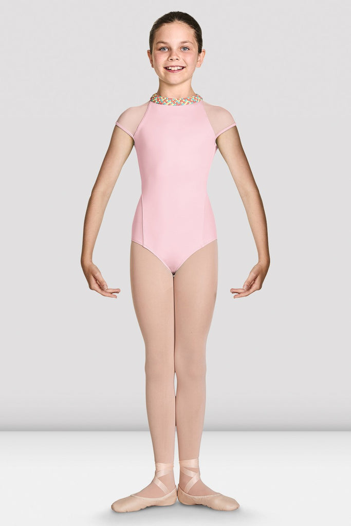 Candy pink Bloch Girls Alisha High Neckline Zip Back Cap Sleeve Leotard on female model feet in first position and arms in bra bas