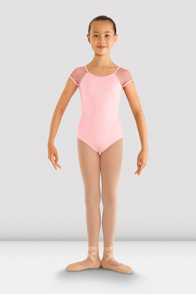 Girls Heart Mesh Cap Sleeve Leotard - BLOCH US