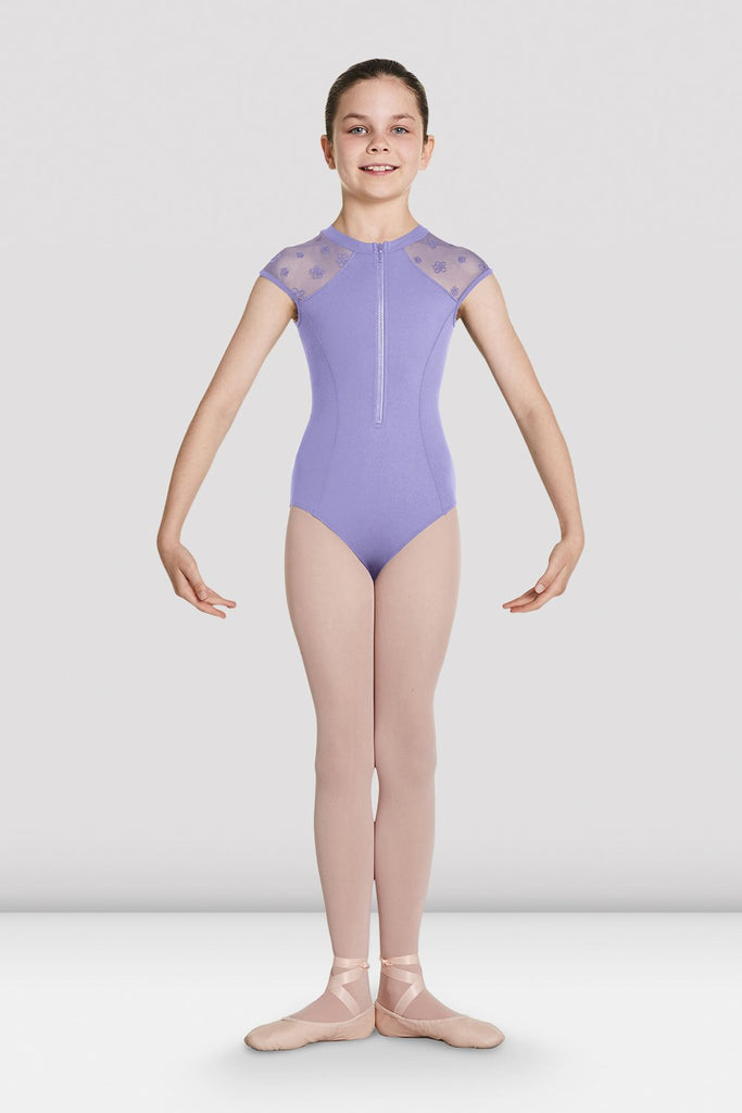 Girls Petrina Zip Front High Neck Leotard - BLOCH US