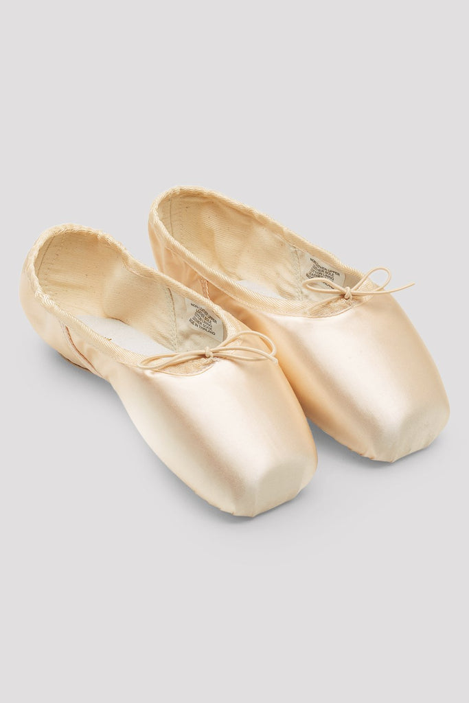 Pink satin Bloch European Balance Pointe Shoes flatlay pair of shoes