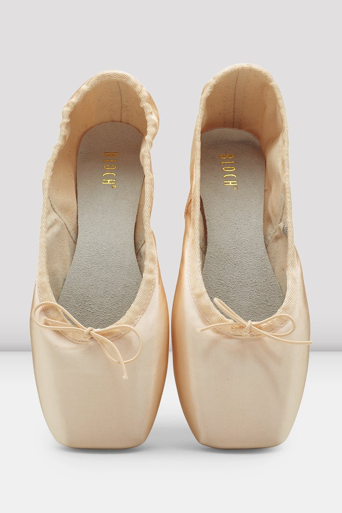 Pink satin Bloch European Balance Pointe Shoes en pointe in parallel position