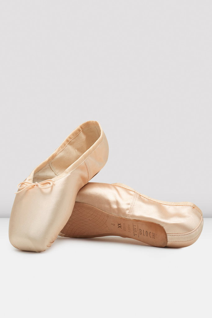 Pink satin Bloch TMT B-Morph Moldable Pointe Shoes flatlay pair of shoes