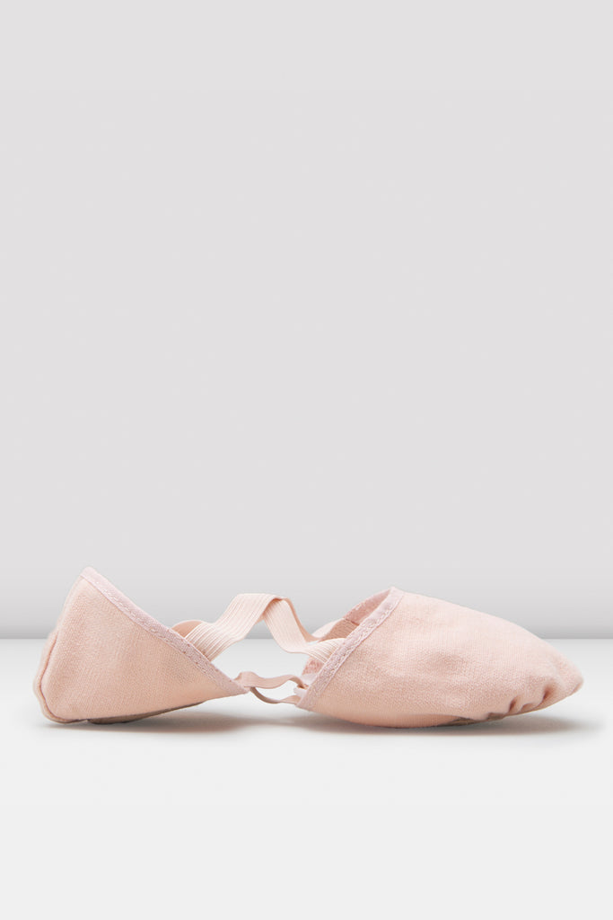 Pink canvas Bloch Ladies Elastosplit Canvas Ballet Shoes single shoe side view