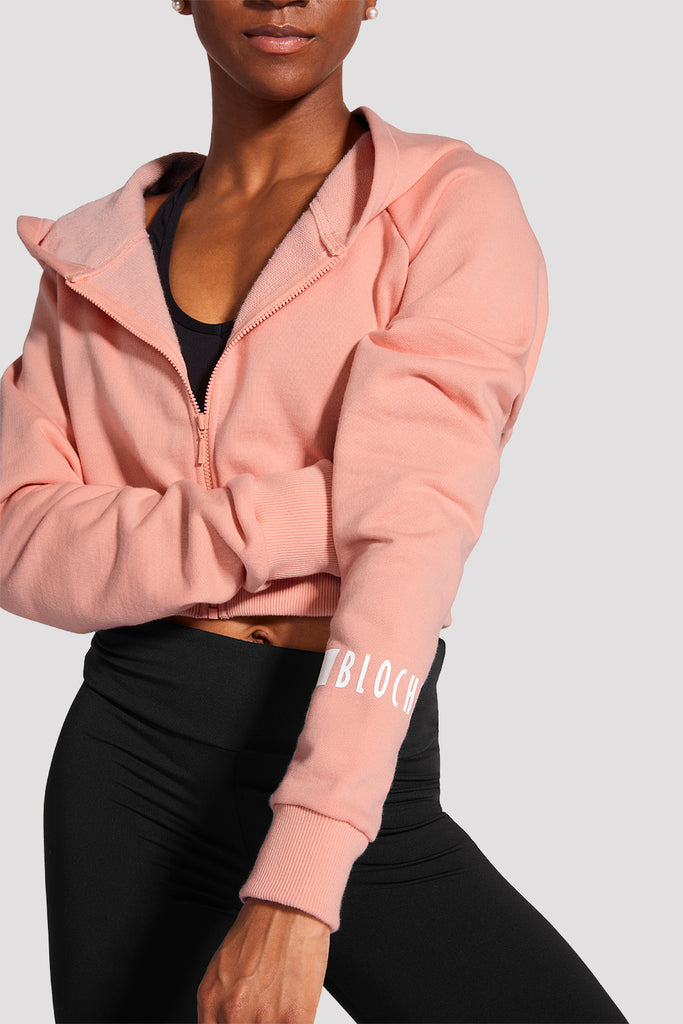 Ladies Zip Front Logo Hoodie - BLOCH US