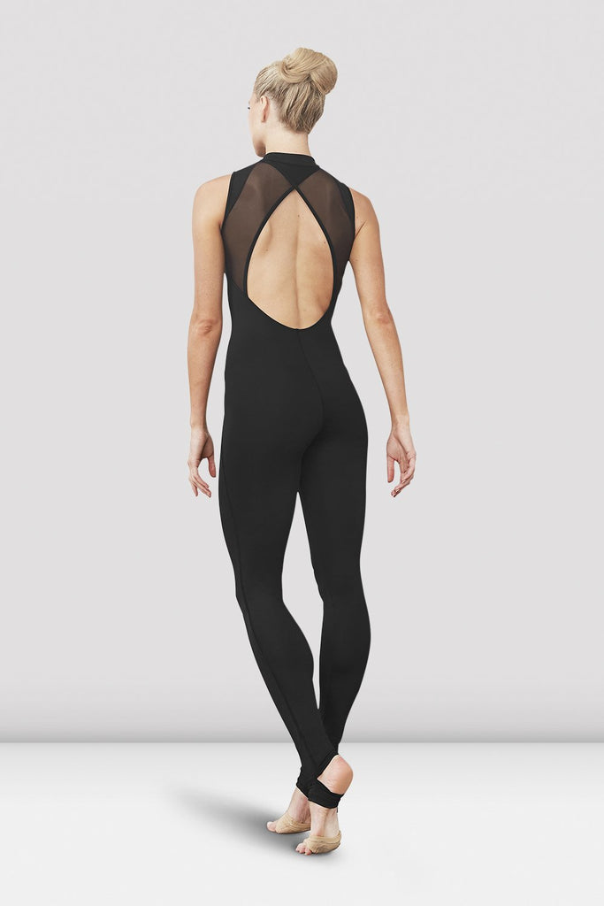 Black Bloch Ladies Kyara Open Back Stirrup Unitard on female model facing back corner
