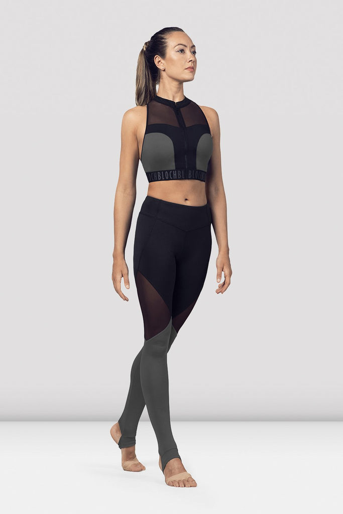 Black Bloch Ladies Zip Front Mesh Back Crop Top on female model in parallel fourth position on releve facing corner