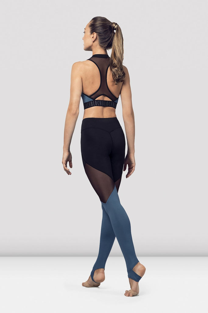 Seaport Bloch Ladies Zip Front Mesh Back Crop Top on female model in parallel fourth position on releve facing back corner