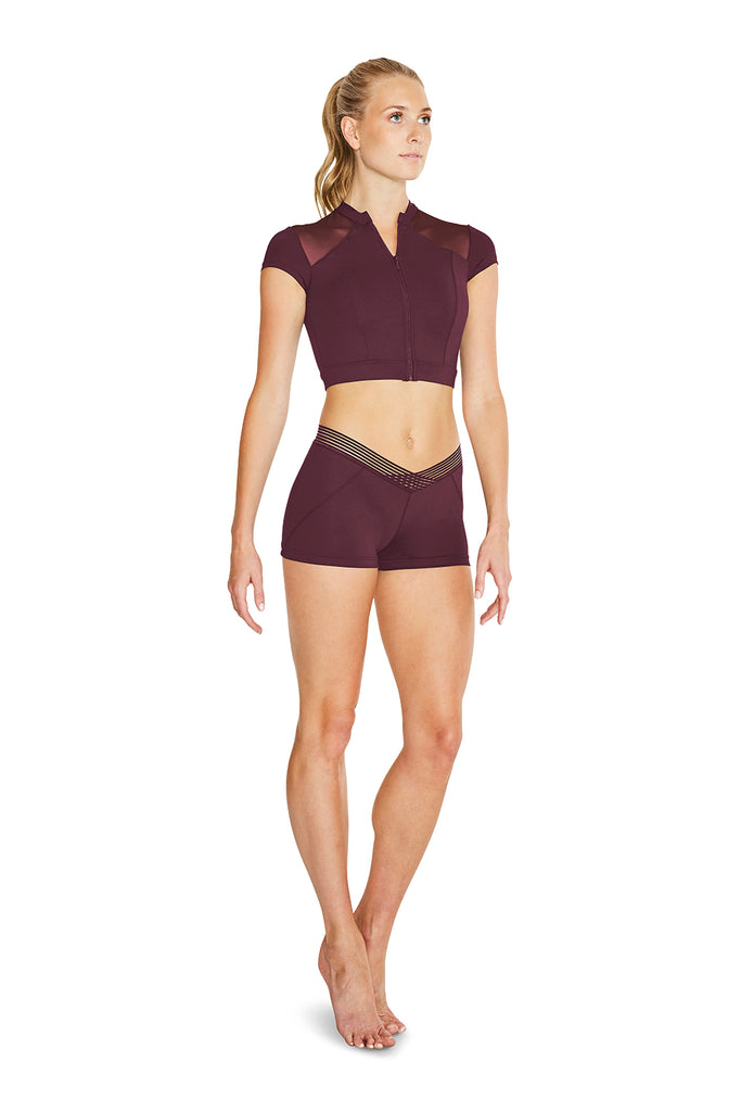 Ladies Cap Sleeve Mesh Back Crop Top - BLOCH US
