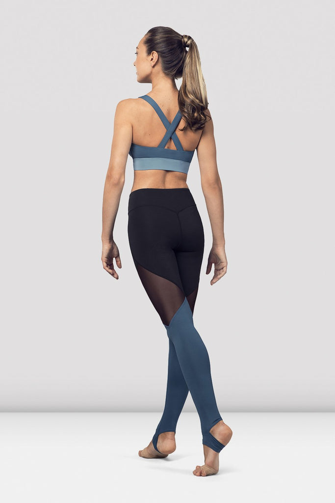 Seaport Bloch Ladies Cross Back Tank Crop Top  on female model in parallel fourth position on releve facing back corner