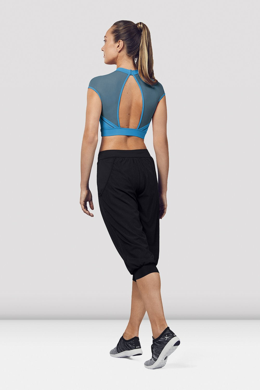 Ladies Open Back Cap Sleeve Crop Top - BLOCH US