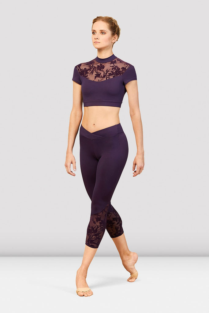 Ladies Bordeaux High Neck Cap Sleeve Crop Top - BLOCH US