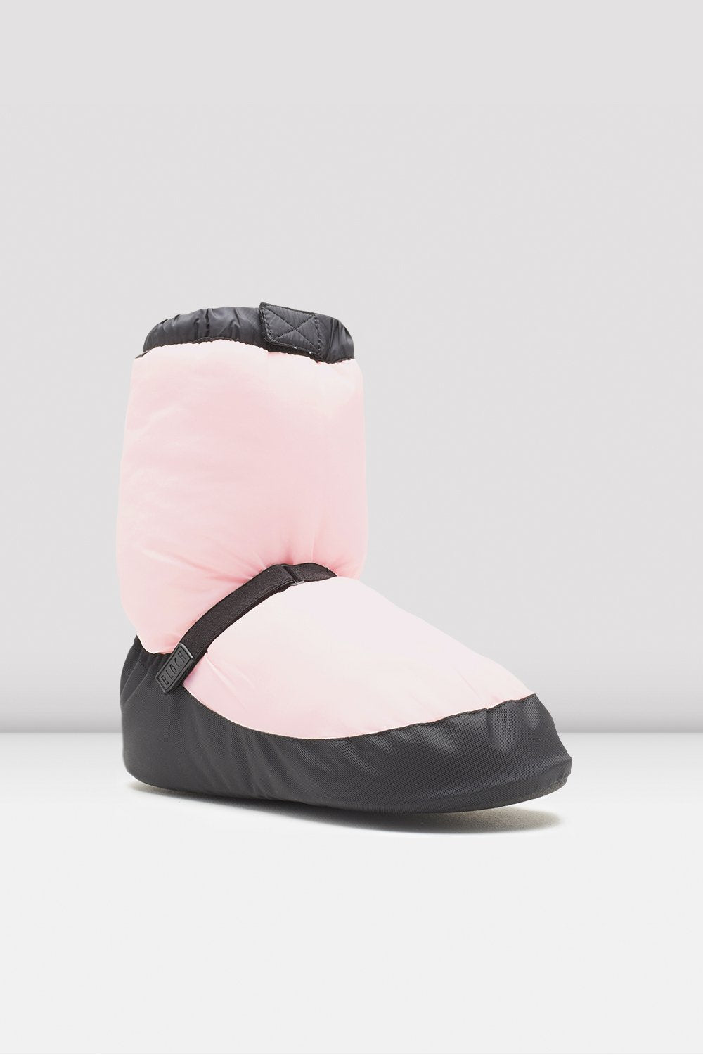 Candy pink nylon Bloch Adult Warm Up Booties single shoe side view focus on toe of shoe
