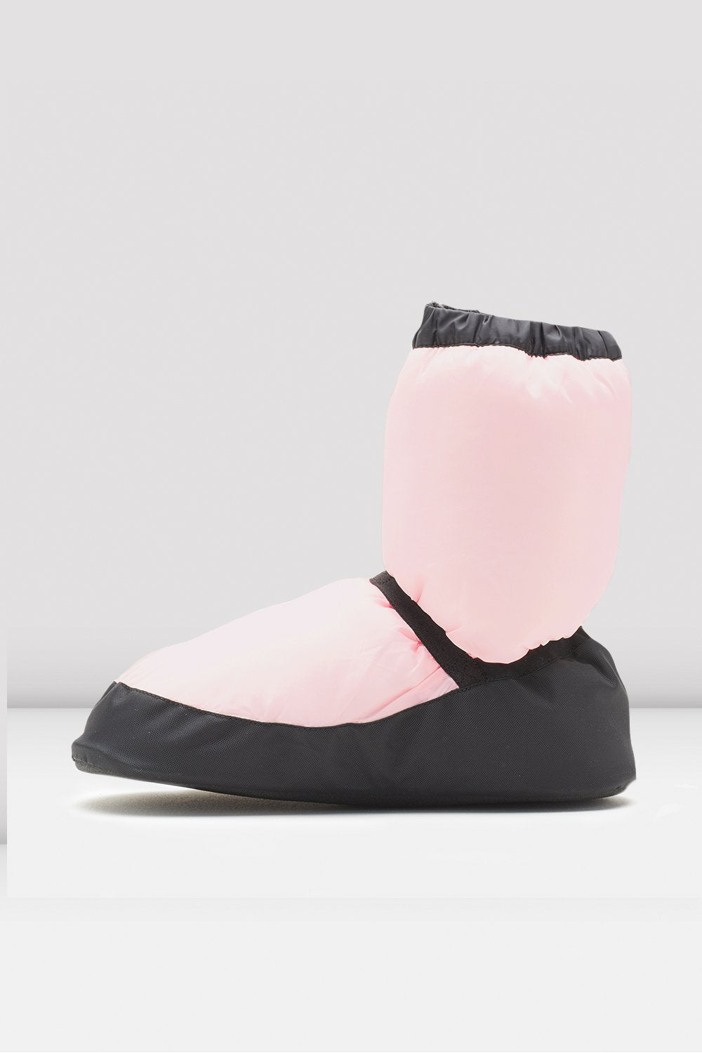 Candy pink nylon Bloch Adult Warm Up Booties single shoe side view