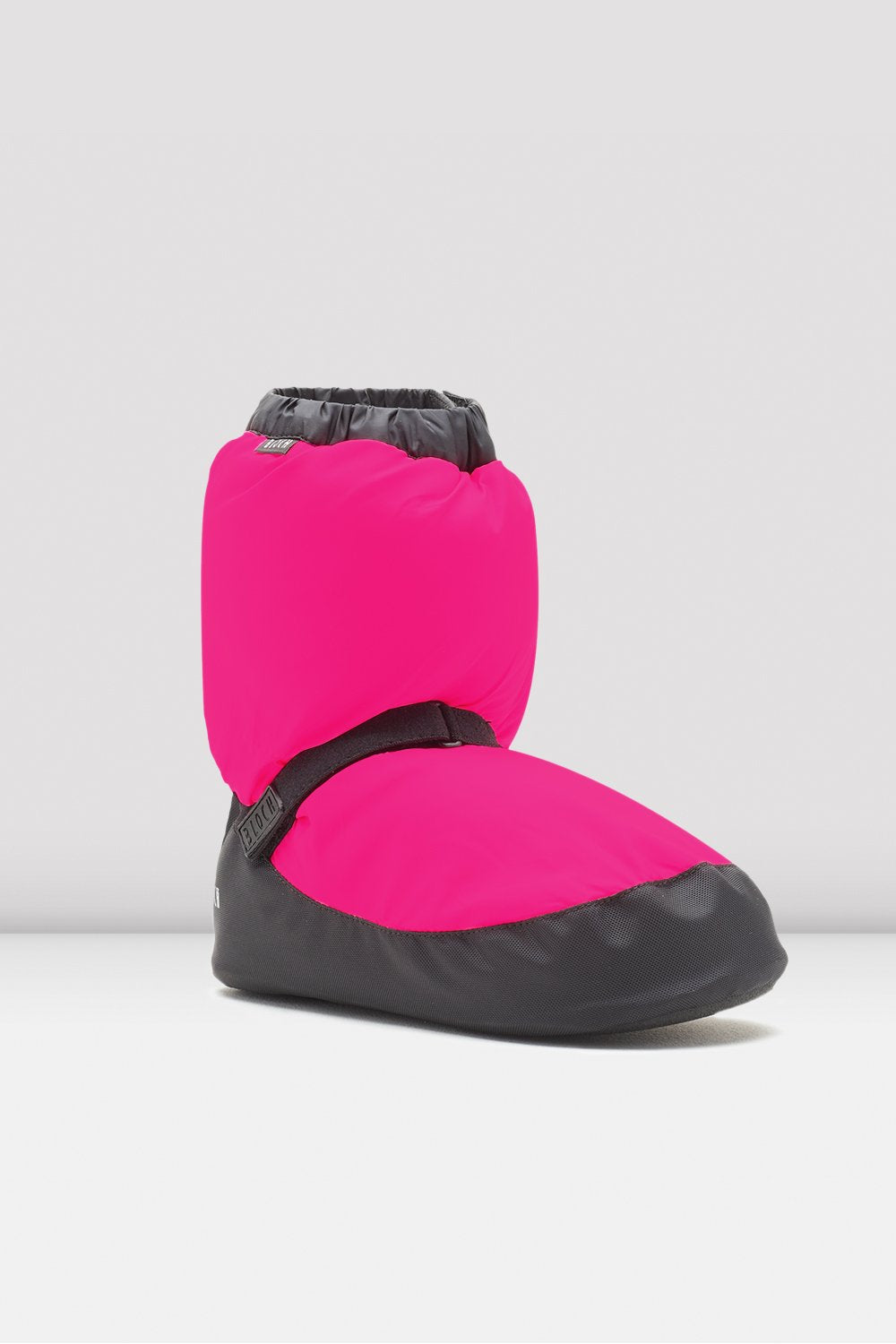 Fluorescent pink nylon Bloch Childrens Warm Up Booties single shoe side view focus on heel of shoe
