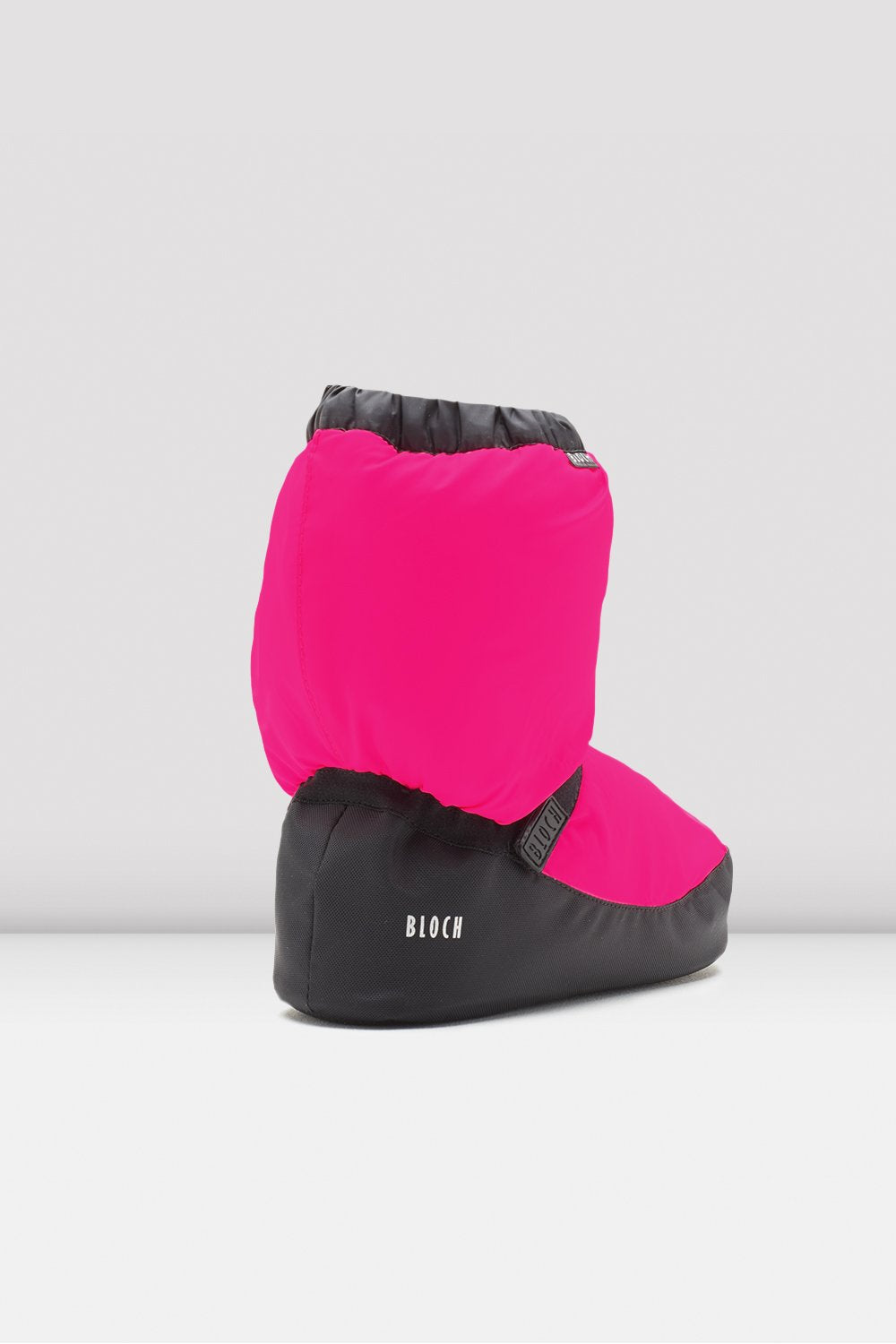 Fluorescent pink nylon Bloch Childrens Warm Up Booties single shoe side view focus on toe of shoe