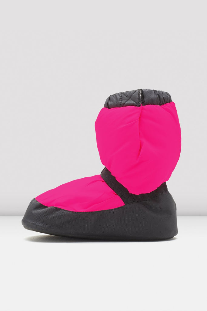 Fluorescent pink nylon Bloch Childrens Warm Up Booties single shoe side view