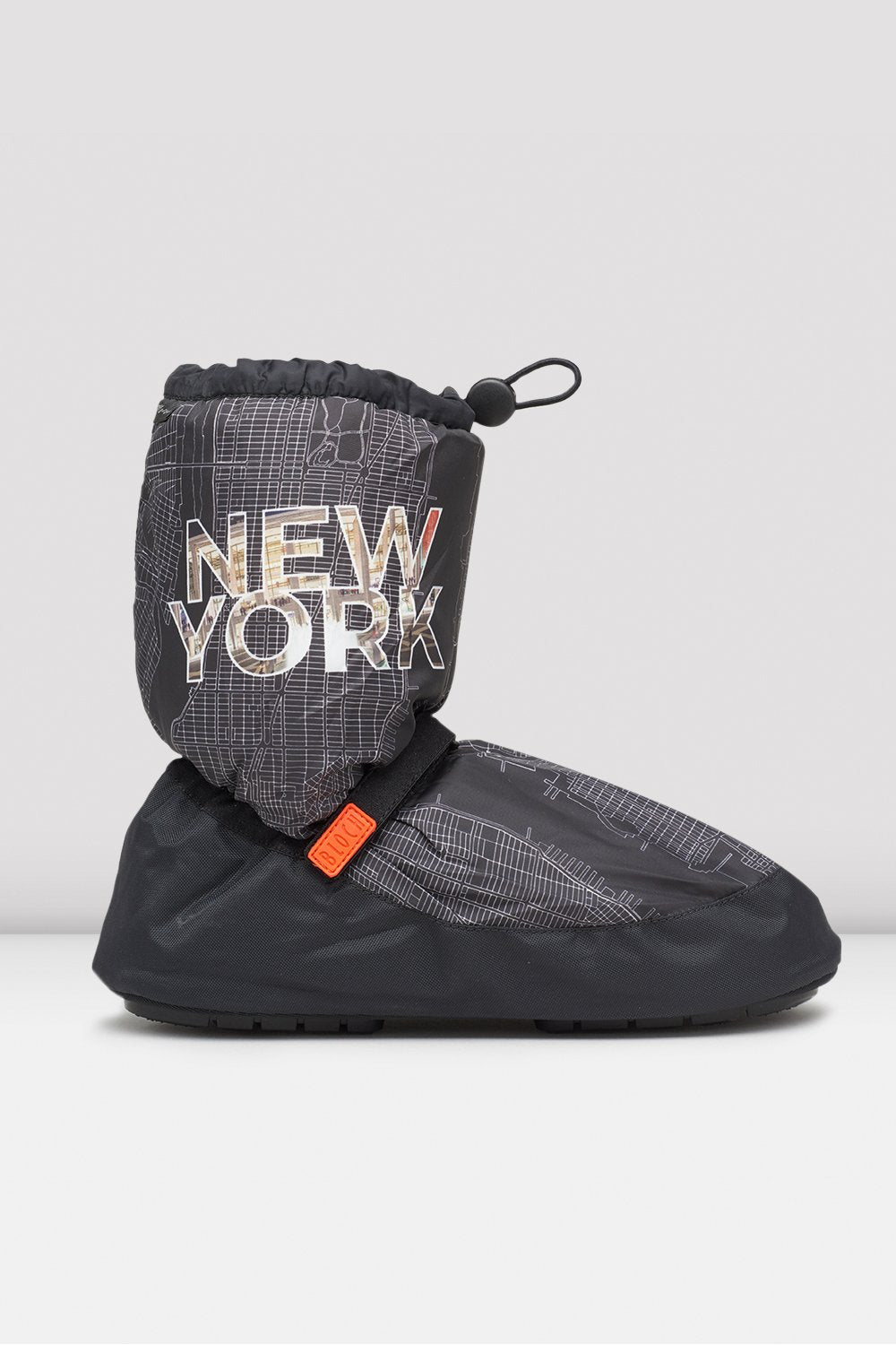 Bloch New York City Map Multi-function Warm Up Booties single shoe side view
