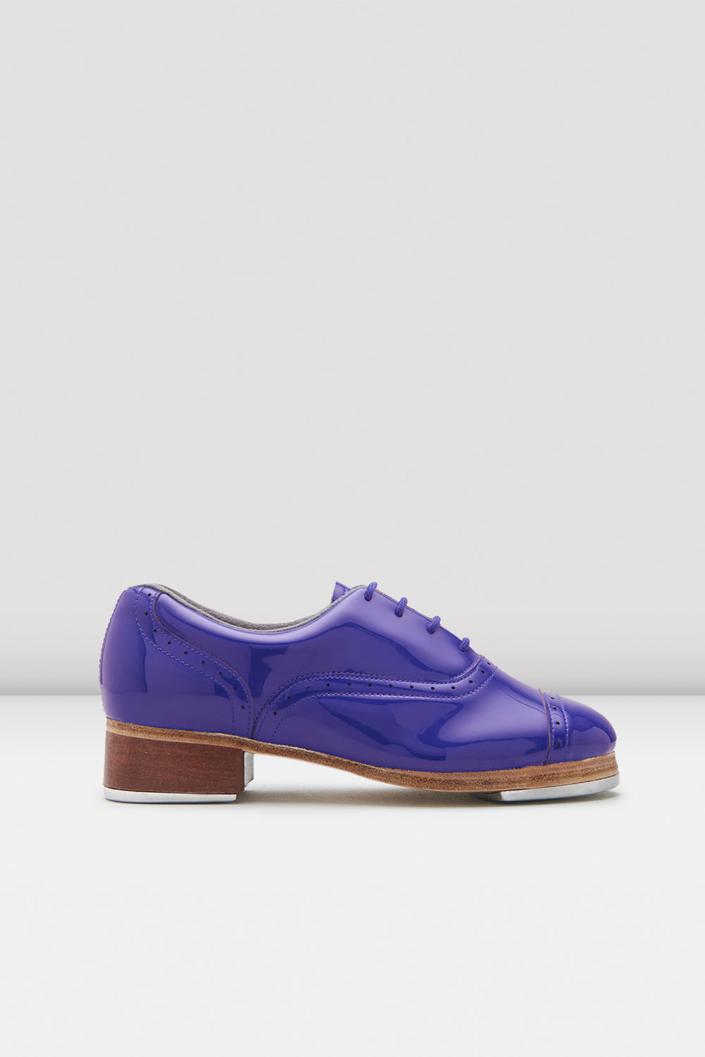 Dark blue patent Bloch Ladies Jason Samuels Smith Patent Tap Shoes single shoe side view