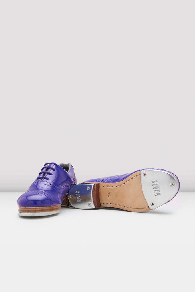 Dark blue patent Bloch Ladies Jason Samuels Smith Patent Tap Shoes pair of shoes view of top and bottom of shoes