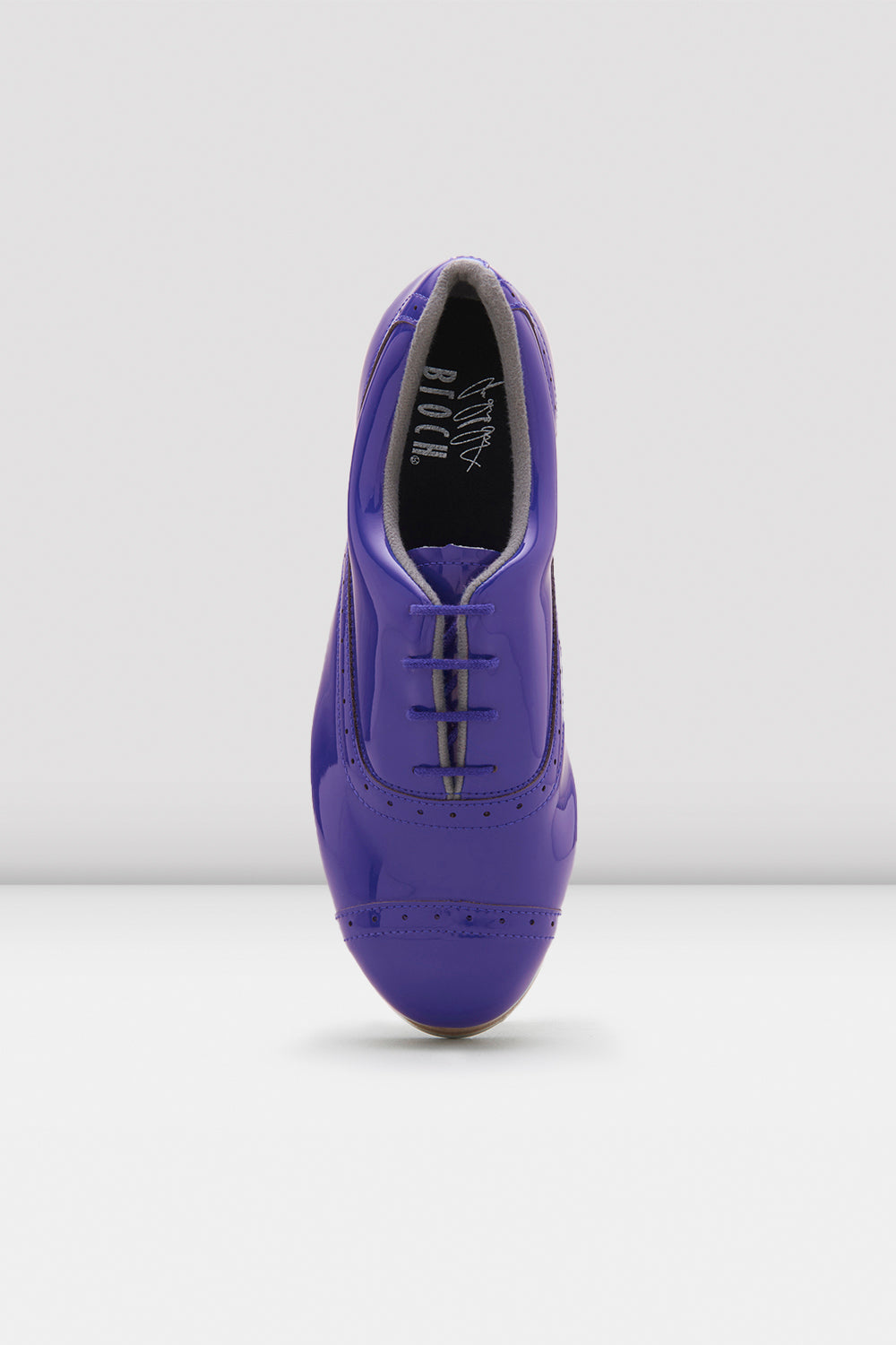 Dark blue patent Bloch Ladies Jason Samuels Smith Patent Tap Shoes single shoe focus on top of shoe
