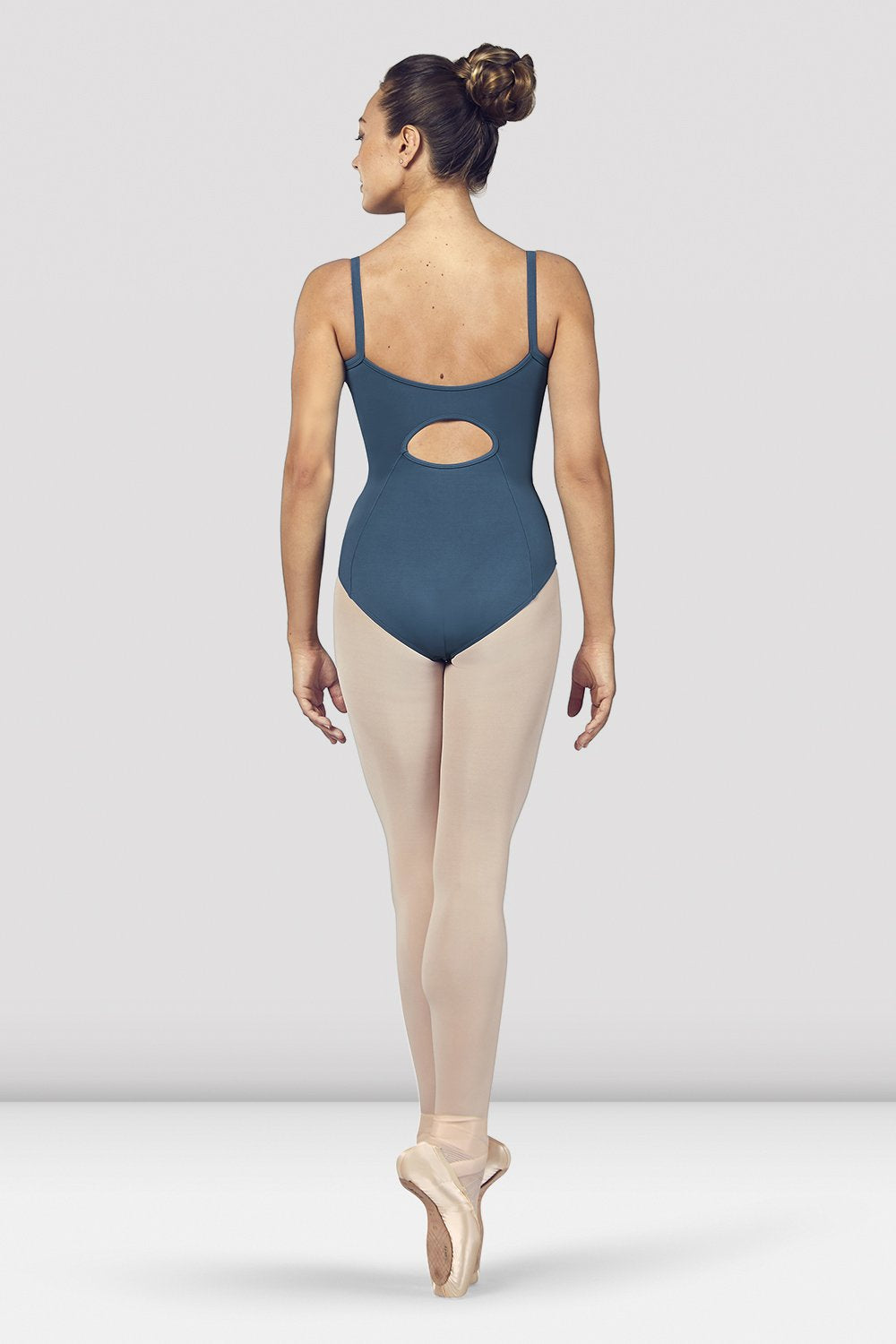 Seaport Bloch Ladies Vilette Zip Front Open Back Camisole Leotard on female model en pointe in fifth position facing back