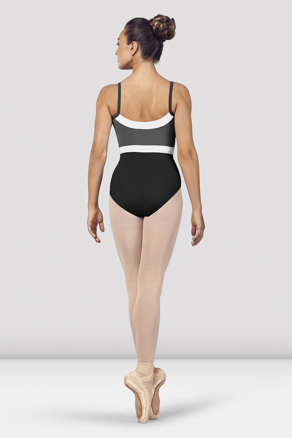 Black Bloch Ladies Amora Camisole Leotard on female model en pointe in fifth position facing back