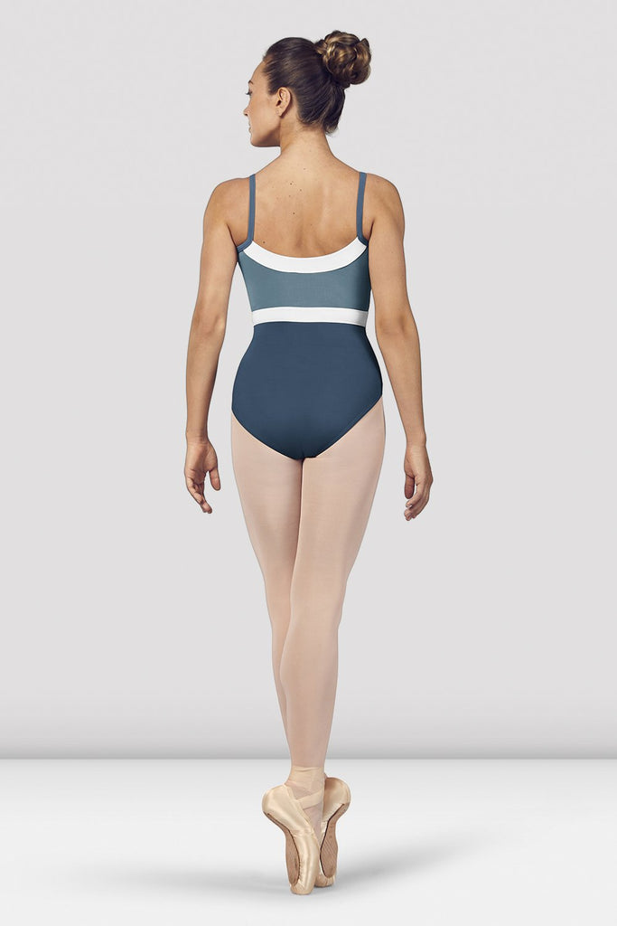 Seaport Bloch Ladies Amora Camisole Leotard on female model en pointe in fifth position facing back
